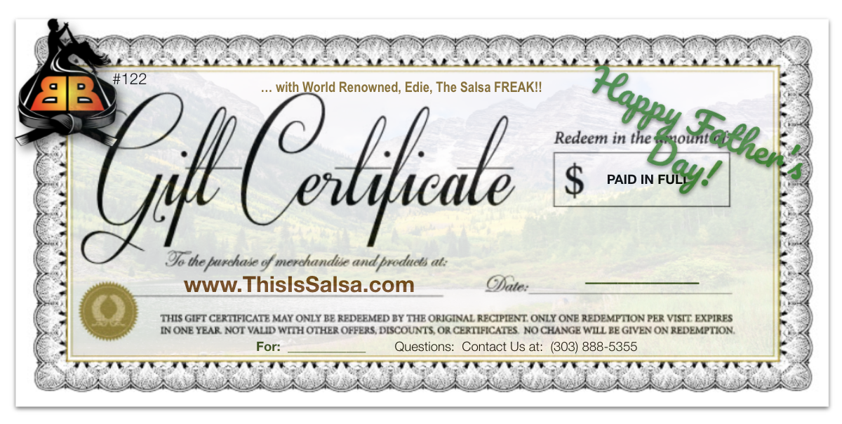 Learn Salsa in Denver Father's Day Gift Certificate